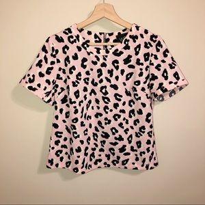W5 Pink Leopard Print Boxy Blouse| XS